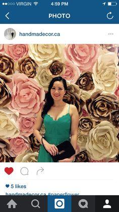 Paper flower backdrop by handmadecorcanada on Etsy
