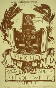 Poster of the Day - Pink Floyd at the Fillmore West 43 years ago today on April 29th, 1970. Infrequently-used Bill Graham contributor Pat Hanks drew this revival-style design around a Pink Floyd photograph. Quickly gaining popularity for their cosmic rock sound, the British band played this gig for one night only at the Fillmore West.