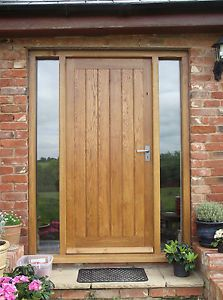 Wooden Doors: solid oak front door with side lights,oak door,bes. Timber Front Door, Front Door Steps, Front Door Porch, Front Doors With Windows, Double Front Doors, Wooden Front Doors, Front Door Entrance, Exterior Front Doors, House Front Door