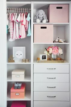 Lisa Adams, of LA Closet Design, is sharing her best advice for maximizing your nursery closet space + drool-worthy nursery closet examples to inspire you! Baby Bedroom, Closet Bedroom, Baby Room Decor, Kids Bedroom, Closet Space, Kid Closet, Bathroom Closet, Baby Wardrobe Organisation, Nursery Closet Organization