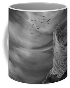 Angel Coffee Mug featuring the drawing Up High by Faye Anastasopoulou