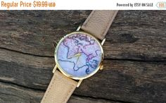 SALE Map watch day gift map watches gift for her by MikaLush