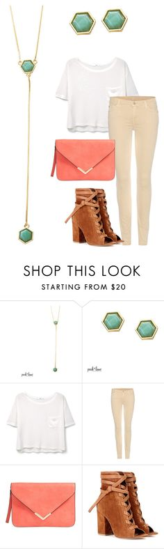 """""""Spearmint"""" by parklanejewelry on Polyvore featuring MANGO, 7 For All Mankind and Gianvito Rossi"""