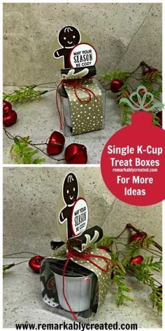 Week of Treats Day # 3 - Stampin UP! Stampin Up Christmas, Christmas Tag, Christmas Treats, Handmade Christmas, Christmas Craft Fair, Christmas Party Favors, K Cup Crafts, Coffee Crafts, Xmas Crafts