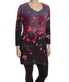 Highness NYC Pink & Gray Petal Tunic - Plus | zulily