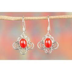 Flower Shape Coral Gemstone 925 Silver Earring via Polyvore featuring jewelry, earrings, silver flower earrings, coral earrings, gem earrings, coral silver jewelry and silver flower jewelry