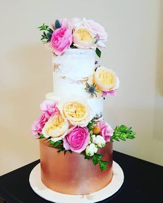 Wedding Cake: 3 tier semi-naked & rose gold, with fresh blooms. My Beautiful Friend, Frost, Congratulations, Wedding Cakes, Naked, Bloom, Rose Gold, Instagram, Wedding Gown Cakes