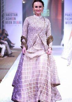 Asian inspired coat with lehenga, gold and cream tones, geometric lehenga, beautiful blend of styles and trends