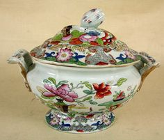 """A Mason's Ironstone China Sauce tureen, decorated in the """" Table & Flowerpot"""" pattern. 1813 - 1820 Circa: 1815 - 1825"""