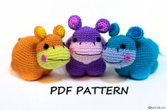 DIY Crochet Hippo Instructions Amigurumi Pattern Instant by Amichy, $5.00