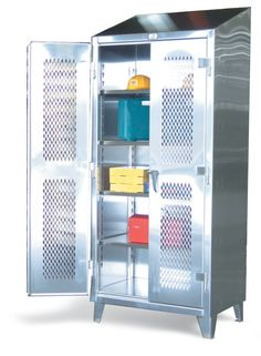 Stainless Steel Ventilated Cabinet - Our standard heavy duty 12 gauge stainless steel ventilated door cabinet. This includes 14 gauge shelves that can be adjusted in 2 inch increments. locking device can be locked with a standard padlock. Stainless Steel Cabinets, Industrial Storage, Steel Locker, Storage Solutions, Locker Storage, Metal Doors, Hold On, Shelves, Garage