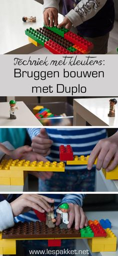 techniek met kleuters - bruggen bouwen met Duplo - Lespakket Creative Activities, Craft Activities For Kids, Math Activities, Professor, Preschool Math, Kindergarten, Van Lego, Block Area, Lego Club