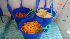 Snacks in sand buckets for beach, under the sea, or summer theme