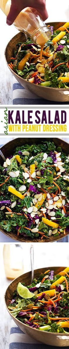 Crunchy kale and peppers tossed with red cabbage, carrots, almonds, and a quick homemade creamy peanut dressing.