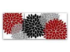 Home Decor Wall Art, Red and Gray Flower Burst Art, Bathroom Wall Decor, Bedroom Decor, Living Room Grey And Red Living Room, Black And Grey Bedroom, Gray Bedroom, Bedroom Yellow, Bedroom Canvas, Black Bedrooms, Yellow Nursery, Bedroom Wall, Wall Canvas