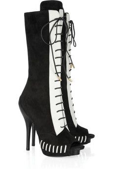 Rework your LBD wardrobe for the new season with Versace's peep-toe black suede and white leather lace-up calf boots.