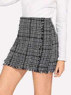 468b8f0e6e Shein Frayed Trim Plaid Tweed Skirt