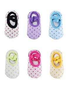 Baby 6 Paar rutschfeste Fu�socken Babysocken Schuhe f�r die Kinder von 8-36 Monat