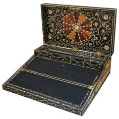 Porcupine Quill Writing Box from the British Raj (Colonial India) | From a unique collection of antique and modern desk accessories at https://www.1stdibs.com/furniture/decorative-objects/desk-accessories/
