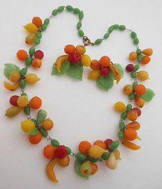 Vintage ITALY Necklace Earring SET Venetian Art Glass Fruit Salad Carmen Miranda