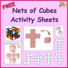 Free Nets of Cubes Activity Sheets! Here are some cutting, folding, writing, and coloring activity sheets for all of the possible nets of cubes....