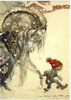 "1912 John Bauer (Swedish ~ Julbocken (Yule Goat) from ""A Polar Bear's Tale"" John Bauer, Troll, Art And Illustration, Fairy Land, Fairy Tales, Gripping Beast, Yule Goat, Illustrators, Fantasy Art"