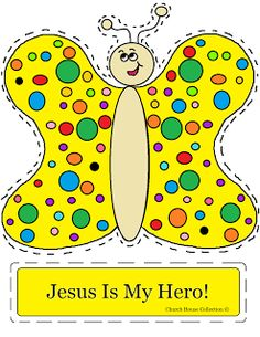 "Church House Collection Blog: ""Jesus Is My Hero"" Butterfly Cut Out Craft For Kids In Sunday School or Children's Church"