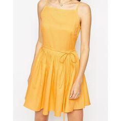 ASOS Mini Sundress with Full Skirt (€24) ❤ liked on Polyvore featuring skirts, mini skirts, tall skirts, pleated skirt, full pleated skirt, asos mini skirt and yellow mini skirt