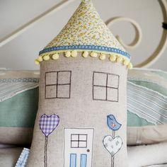 Little love bird house cushion by little village handmade