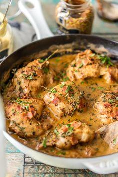 ONE POT MUSTARD CHICKEN AND BACON SKILLETReally nice recipes.  Mein Blog: Alles rund um die Themen Genuss & Geschmack  Kochen Backen Braten Vorspeisen Hauptgerichte und Desserts