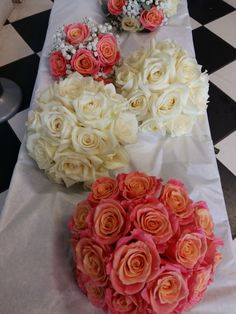 peachy orange roses, miss piggy and avalanche roses