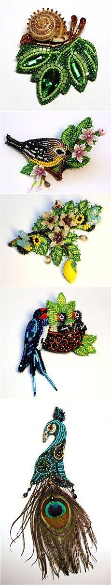 Miniatura broche de perlas amor Tjurina - Artesanía