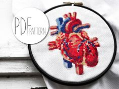 Looking for your next project? You're going to love Modern anatomy cross stich pattern HEART by designer Hallodribums.
