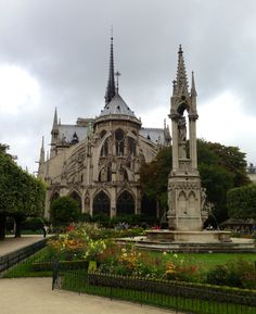 Notre Dame garden, Paris France. The garden is gorgeous. We attended an outdoor concert in the garden.