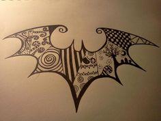 Estilo Tim Burton, Tim Burton Style, Batman Tattoo, Batman Symbol Tattoos, Mickey Tattoo, Bat Symbol, Tattoo Drawings, Body Art Tattoos, Sleeve Tattoos