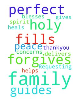 Family Requesting Prayer -  Please pray that God forgives me, fills me with His Holy Spirit, guides me, helps me through all my concerns, blesses, heals, delivers my family and I and gives us His perfect peace. Thankyou  Posted at: https://prayerrequest.com/t/mP8 #pray #prayer #request #prayerrequest