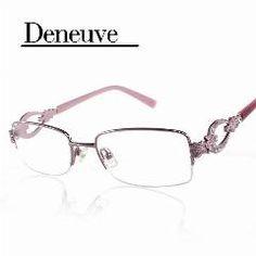 cdda15a870   25% OFF   New Design Fashion Lady Style Half Rim Diamond Collection Optical  Eyewear Frames