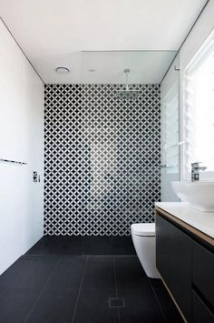 Statement-tiles-black-and-white-bathroom 65 Most Popular Small Bathroom Remodel Ideas on a Budget in 2018 Room Tiles, Bathroom Floor Tiles, Shower Tiles, Shower Floor, Shower Bathroom, Tub Tile, Mosaic Tiles, Tile Showers, Bathroom Carpet