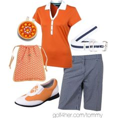 bright orange and midnight gingham check ladies golf outfit | #golf4her