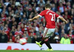Ander Herrera scores from the penalty spot vs Liverpool