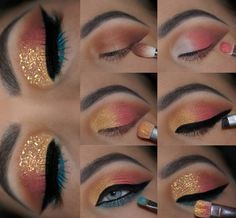 Winged Eyeliner Stamp India about Eye Makeup Looks Crazy. Eye Makeup Looks Step By Step onto What Colour Eyeliner Looks Good With Brown Eyes Teal Eye Makeup, Eye Makeup Steps, Makeup Eye Looks, Beautiful Eye Makeup, Smokey Eye Makeup, Cute Makeup, Skin Makeup, Eyeshadow Makeup, Eyeshadow Palette
