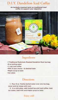 Up your coffee game! Try adding our Roasted Dandelion Root tea to your daily cup of Joe. Dandelion Tea Benefits, Dandelion Tea Detox, Dandelion Root Tea, Dandelion Jelly, Tea Recipes, Coffee Recipes, Dandelion Recipes, Essential Oils