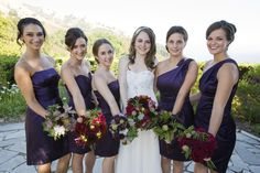 Each of my bridesmaids' bouquets were based on one of the flowers from my bridal bouquet. Couldn't have been happier with the amazing, vivid arrangements (complete with roses, dahlias, succulents, purple calla lillies, chocolate scabiosa, and greenery!) in dark red and deep purple! | Big Sur wedding - Photography: www.michellemagdalena.com
