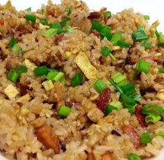"""Egg Fried Rice! """"MY VERSION ~  ~ ADDED 3 TBSP OF DARK SAUCE ~  ~ BBQ PORK  AND CARROT TO MY EGG FRIED RICE ~  ~ LOVING IT""""  @allthecooks #recipe #rice #chinese #fried #easy #quick"""