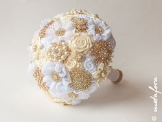 Brooch Bouquet. Gold Ivory Fabric Bouquet Unique by feltdaisy, $200.00