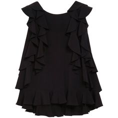 Frilly Top Black Summer Crepe ($425) ❤ liked on Polyvore featuring tops, shirts, blouses, tank tops, blusas, black ruffle shirt, tailored shirts, flat top, summer tank tops and black tank