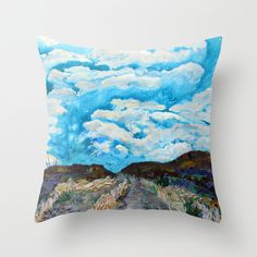 pillow, A landscape painting in acrylic where the clouds continue the path from earth to sky. 22