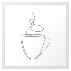 Cup Of Tea Tattoo, Coffee Cup Tattoo, Coffee Tattoos, Drawing Cup, Coffee Cup Drawing, Coffee Cup Art, One Line Tattoo, Line Art Tattoos, Coffee Line