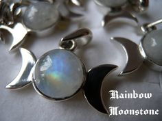 Triple moon goddes Pendant with Natural stone