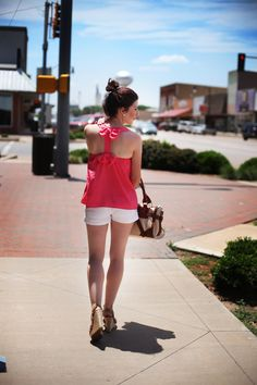 Summer Outfit Pink Bow Top